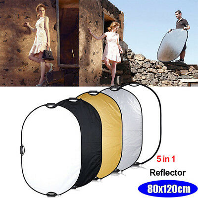Photo Photography Studio Light Mulit Collapsible Reflector Case 80x120cm 5in1 CJ