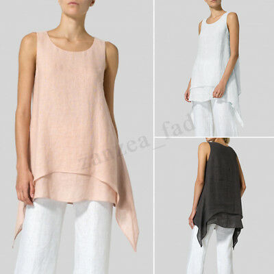 ZANZEA Women Sleeveless Crew Neck Casual Solid Vest Tops Blouse T-Shirts Plus