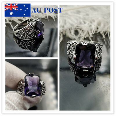 Silver Plated Purple Crystal Rings For Women Wedding Ring Jewelry Only Size 7