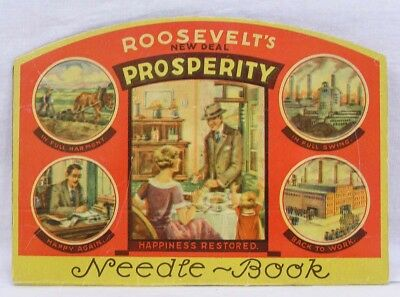 Vintage Ladies Needle Book Roosevelt Prosperity New Deal People At Work 1930s