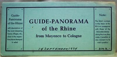 Souvenir Rhine River Germany Panorama Guide Map 1954 Mainz To Cologne Vintage