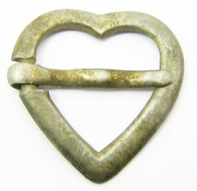 Wonderful 14th - 15th century Medieval Silver Heart Shaped Ring Brooch Excavated