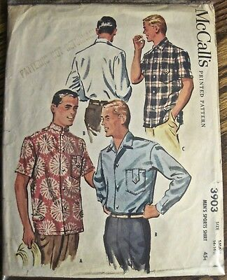 Vintage 1954 McCall's Men's Long 2 Style Sleeve Shirt 2 Style Collars Pattern Sm