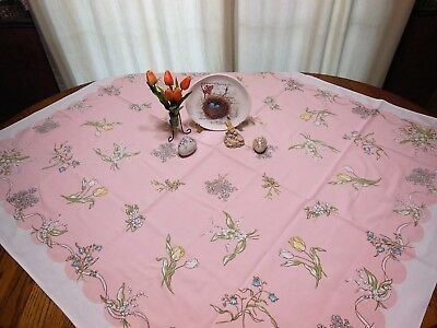 SALE Vintage Leacock Print Tablecloth Kate Greenway Lily of Valley Roses Tulips