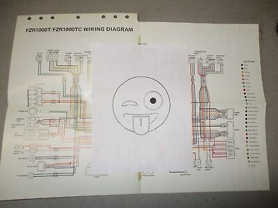 yamaha fzr1000t fzr 1000 t 1987 genuine colored wiring diagram fold out  poster