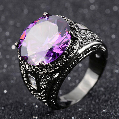 Heavy Fashion Size 7,8,9,10 Womans Mans Halo Black Gold Filled Amethyst Ring