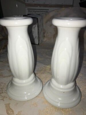"""Fiesta TAPERED CANDLE HOLDERS - Y2K MILLENNIUM - 6""""  Retired Item - WHITE"""