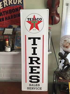 "Texaco TIRES SALES SERVICE~EMBOSSED ~ METAL GAS Station ADVERTISING SIGN~42""X14"""