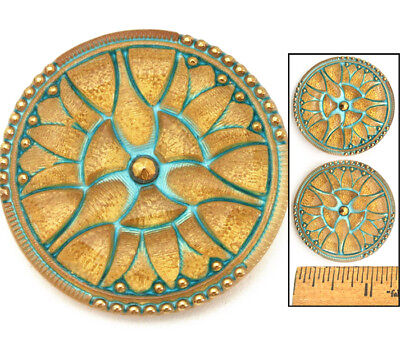 34mm Vintage Gold MATTE TURQUOISE Czech Stained Glass ART DECO LILY Buttons 2pc