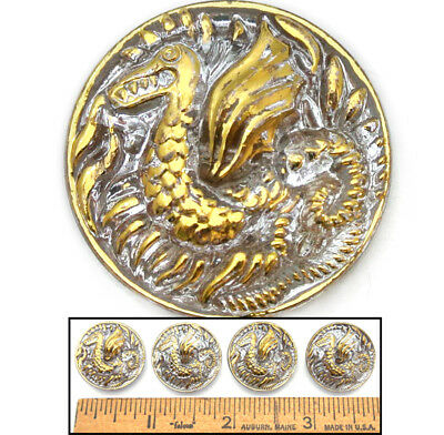 22mm Vintage Czech SILVER Gold Mirror Game of Thrones DRAGON Glass Buttons 4pc