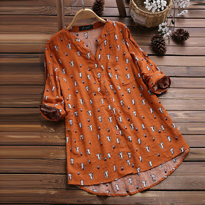 d1be2fb37 Womens Cat Print 3/4 Sleeve T Shirts Blouse Ladies Tunic Loose Tops Plus  Size
