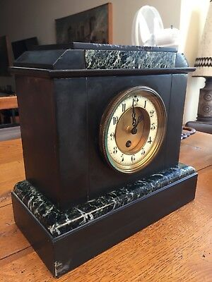 About 1850, a French Slate & Marble Antique Mantel Clock - FREE 24hr Courier