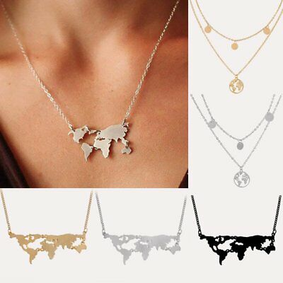 Chic World Map Charm Geometrical Gold Necklace Pendant Chain Jewelry Party Gift
