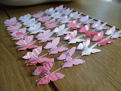30no 3D Paper Butterflies Perfectly Pink 4 Wedding/Cardmaking/Crafts/Tags
