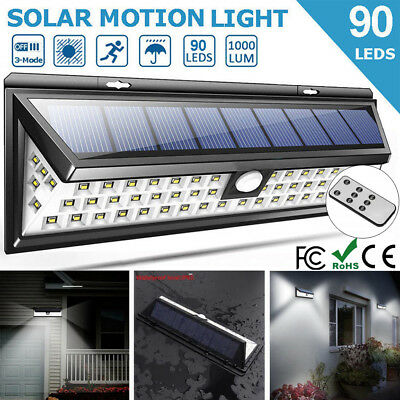 Solar Power PIR Motion Sensor 90 LED Wall Light Outdoor Waterproof Garden Lamp