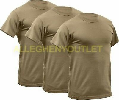 USGI 3 Pack DSCP Polypro Moisture Wicking Lightweight T-Shirt Tan Size XS NIB