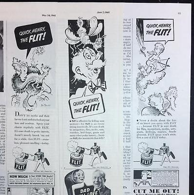 LOT of 3 1941 Dr Seuss Theodor Geisel Cartoon Ads FLIT Insecticide Spray