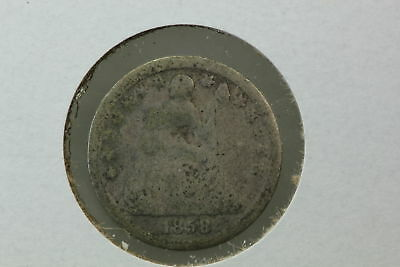 1858 Seated Liberty Half Dime Circulated & Punched