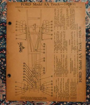 Chek-Chart Lube Chart for Ford 1928-31 AA  and 1932,33 &34  Trucks