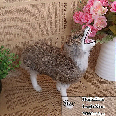 Replicas Lively Life-Like&Unique Wolf In Fur Figurine For Home Decorative Aniaml