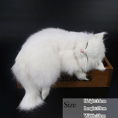 Replicas With Lovely Sleeping Cat In White Fur For Home Party Decoration Selling