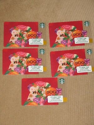 5 Starbucks 2018 Year Of The Dog Chinese New Year Gift Cards - Brand New !