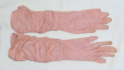 Elvette Royal Dawnelle women's pink opera-length formal gloves, vintage 1940s