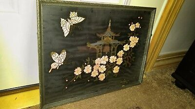 Vintage Oriental Art Print John O. Brown Butterfly 1934 Signed Wood Framed Asia