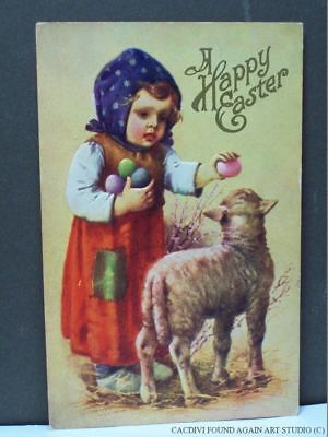 Vintage Easter Postcard Little Girl Showing Painted Egg to Lamb Cute Kid Holiday