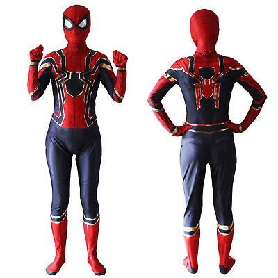 Kids Boy Iron Spiderman Costume Superhero Cosplay Reenactment Fancy Dress New