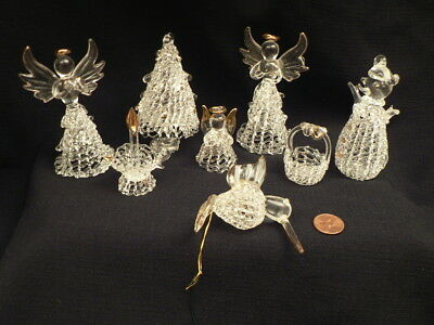 Vtg Lot of 8 Spun Glass Clear Christmas Ornaments Collection Estate Spectacular!