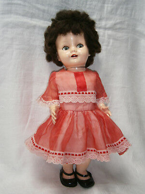 "16 "" 41cm 1950's HARD PLASTIC ENGLISH PEDIGREE FLIRTY EYE DOLL IN ORIGINAL DRESS"