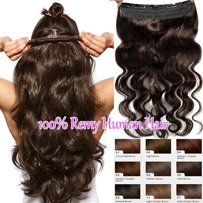 Long Wavy Remy Human Hair Extension Clip in One Piece Curly 100% Best Weft Brown