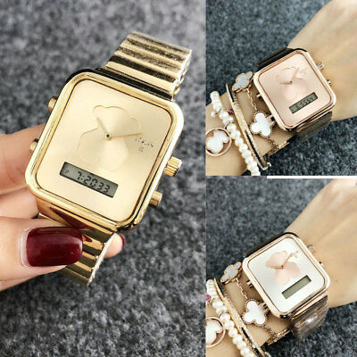 Fashion New Luxury Women's Stainless steel Quartz Wristwatch Cute Bear Watch