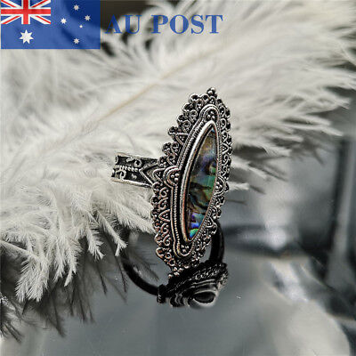 Fashion Women Silver Plated Wedding Engagement Retro Crystal Rings Jewelry Gift