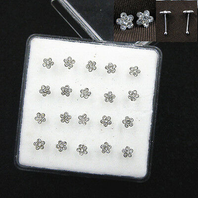 Lots 20 Pcs 925 Solid Silver Clear Crystal Flower Straight Bar Rod Pin Nose Stud