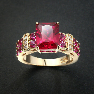 Romantic Rose Ruby White Topaz Gems Champagne Gold Plated Silver Ring Size 6-10