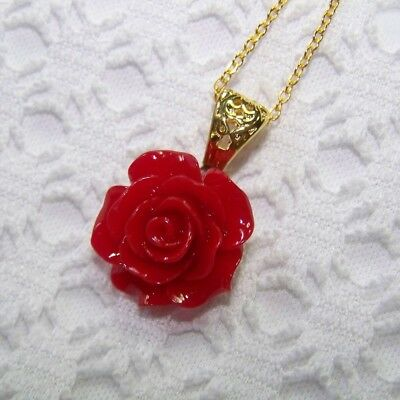 Red Rose Gold Necklace, Victorian Red Rose Necklace, Red Floral Jewelry