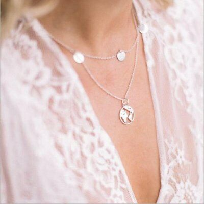Fashion Womens Round Silver Hollow World Map Pendant Necklace Chain Jewellery