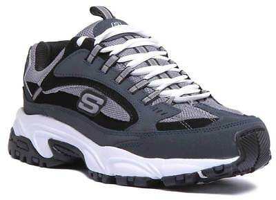 SKECHERS STAMINA Cutback Men Leather Navy Black Trainers UK Size 6 12
