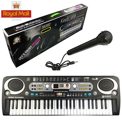 Digital 54 Keys Electronic Keyboard& Microphone Mic Electric LED Adult Size Set