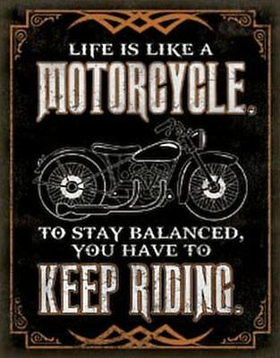 Motorcycle Keep Riding Tin Metal Sign 13 x 16in