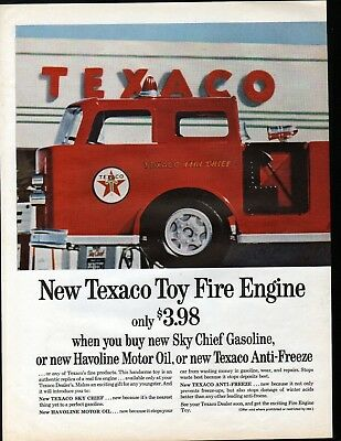 1963 Texaco Sky Chief Gasoline Toy Fire Engine Ad