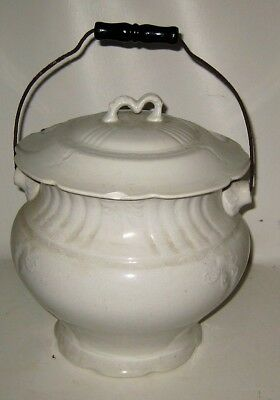 1800's Antique Chamber Pot Slop Bucket with Lid by BP Co Glazed Ceramic China
