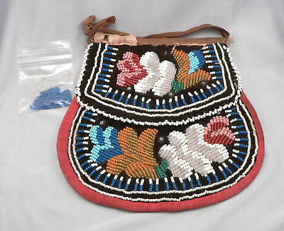 1800's Antique Native American Beaded Flat Bag Mohawk Indian Bead 19th Century