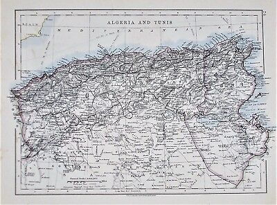 OLD ANTIQUE MAP ALGERIA TUNIS NORTH AFRICA c1910 by W & A K JOHNSTON