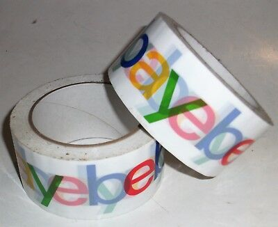 "10 ROLLS OF OFFICIAL EBAY BRANDED TAPE PACKING SHIPPING SUPPLIES 75' x 2"" 2.2ml"