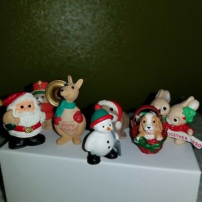 HALLMARK MERRY MINIATURES Lot of 7 Christmas Theme Santa Dog Rabbits Snowman