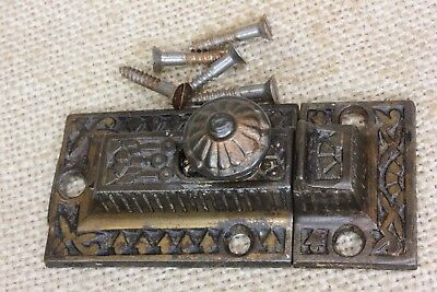 "Cabinet catch Cupboard 2 5/8"" Latch coppered cast iron old vintage Windsor"