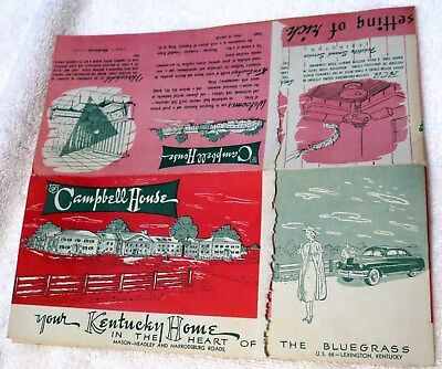 c1940 The Campbell House in Lexington, Kentucky Horses Advertising Flyer